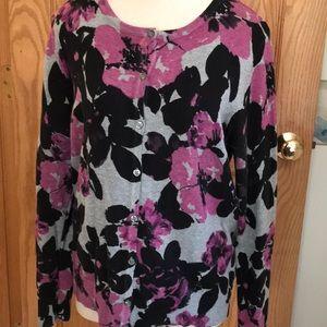 Grey, black, & purple flowered button down sweater